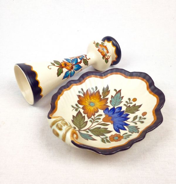 Gouda Pottery Vase And Pin Tray Pair Art Deco Flora Pattern Blue / Cream / Brown